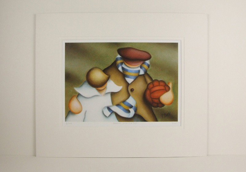 Leeds United football picture by Peter Bell mounted for sale