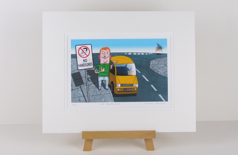 Simon Cooper cartoon car picture at Myton Gallery mounted for sale