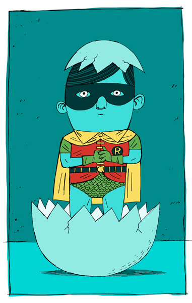 Robin Batman cartoon print by simon cooper at myton gallery hull