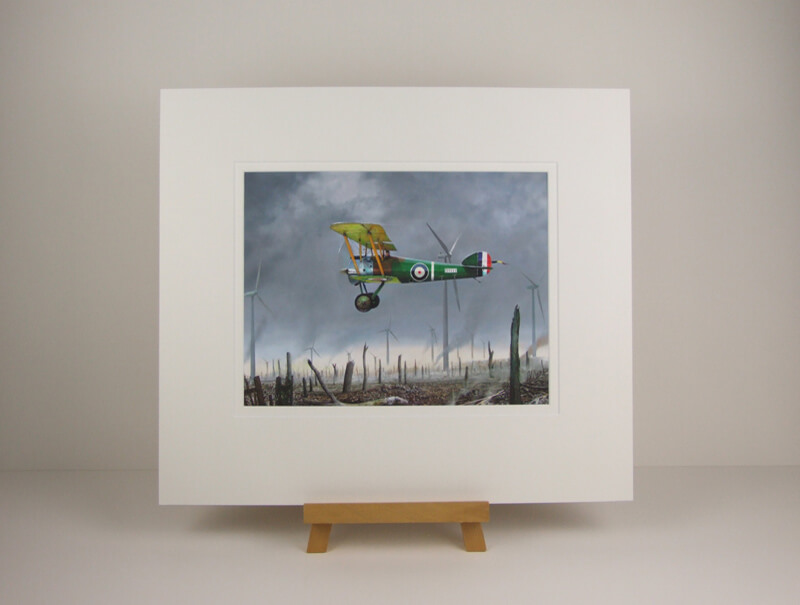 Sopwith Camel biplane aviation print by Gary Saunt mounted for sale