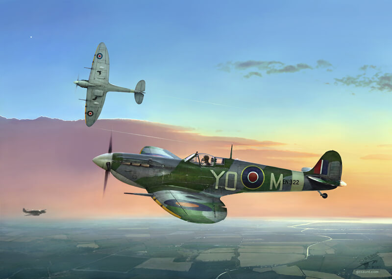 Spitfire aviation print by Gary Saunt