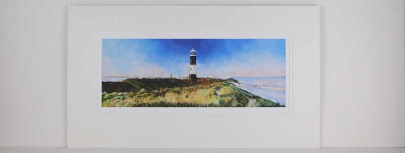 artist Martin Jones picture Spurn Point Lighthouse, East Yorkshire mounted for sale