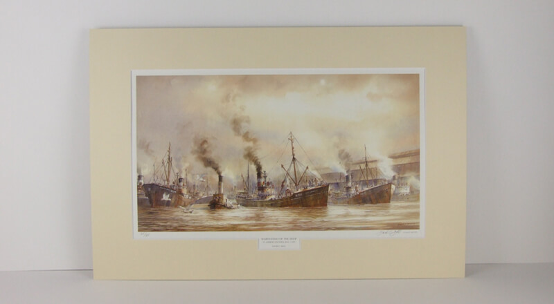 Hull fishing trawlers in St. Andrews' fish dock picture by David Bell mounted for sale