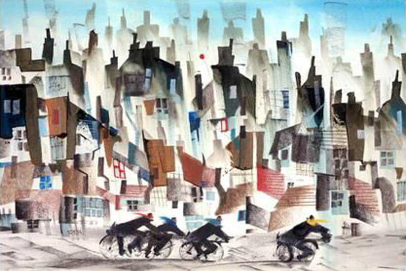 Sue Howells 'Four Go Cycling' print new release at Myton Gallery, Hull