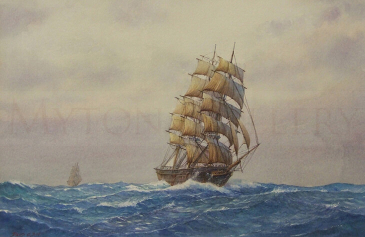 Tall Ship Torrens at Sea original painting by artist David Bell